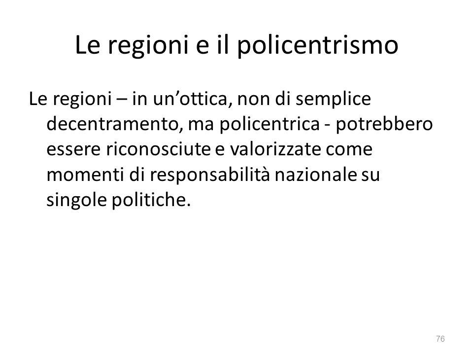 Le regioni e il policentrismo