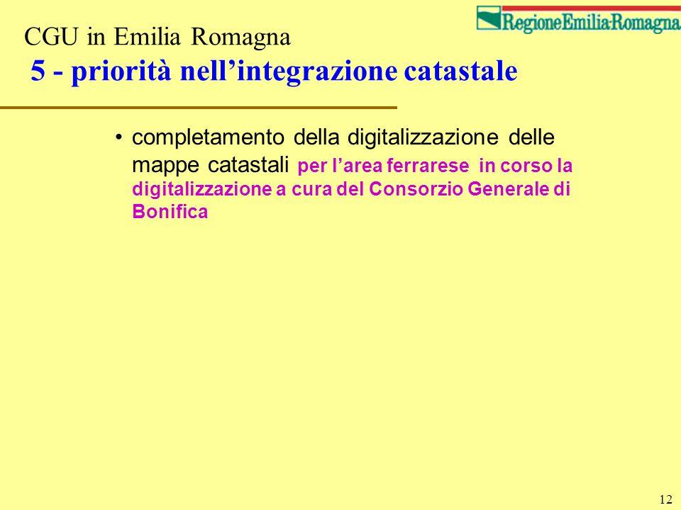 CGU in Emilia Romagna 5 - priorità nell'integrazione catastale