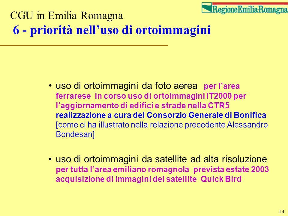 CGU in Emilia Romagna 6 - priorità nell'uso di ortoimmagini