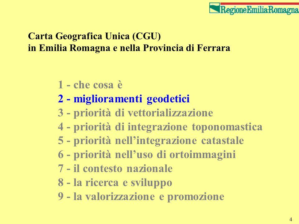 2 - miglioramenti geodetici 3 - priorità di vettorializzazione