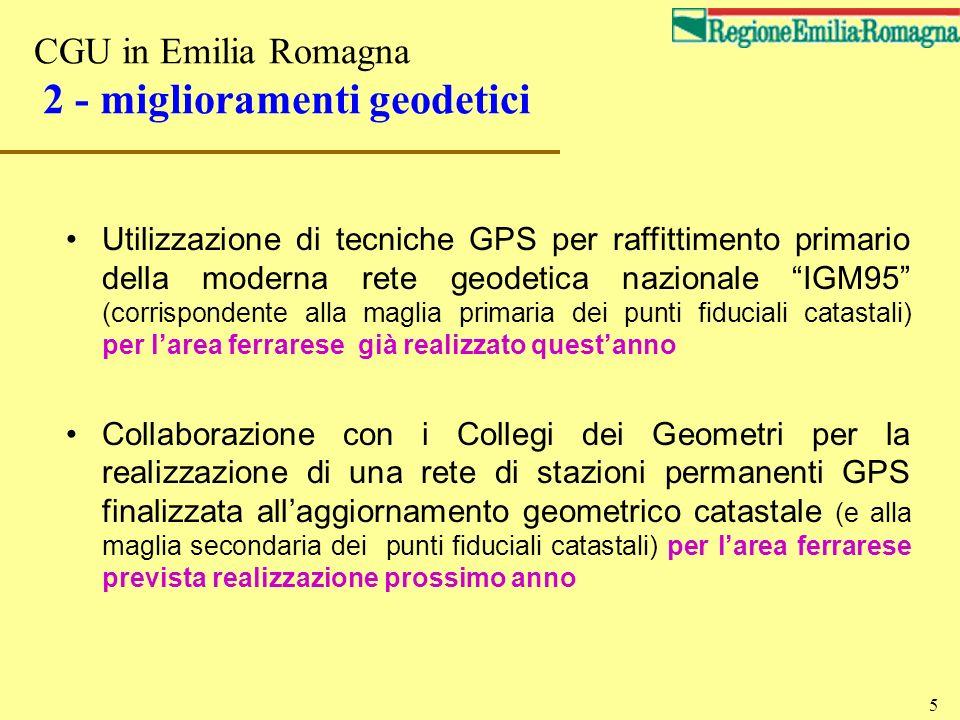 CGU in Emilia Romagna 2 - miglioramenti geodetici