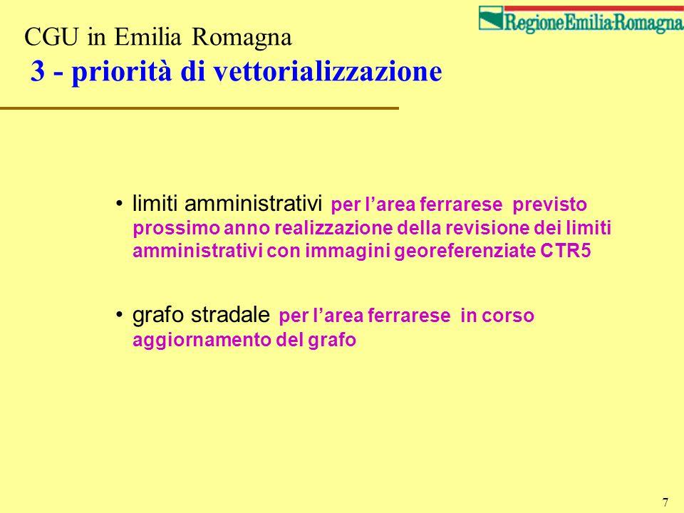 CGU in Emilia Romagna 3 - priorità di vettorializzazione