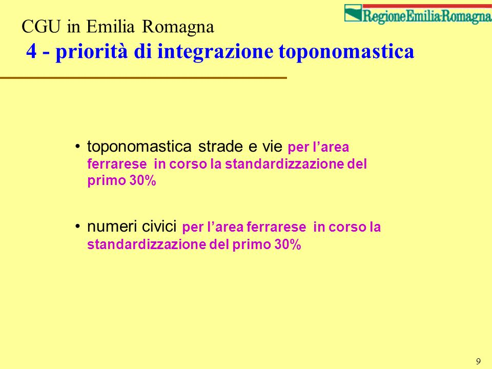 CGU in Emilia Romagna 4 - priorità di integrazione toponomastica