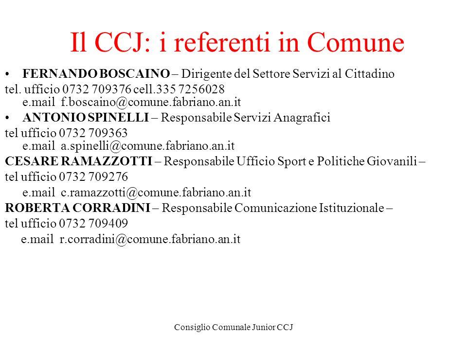 Il CCJ: i referenti in Comune
