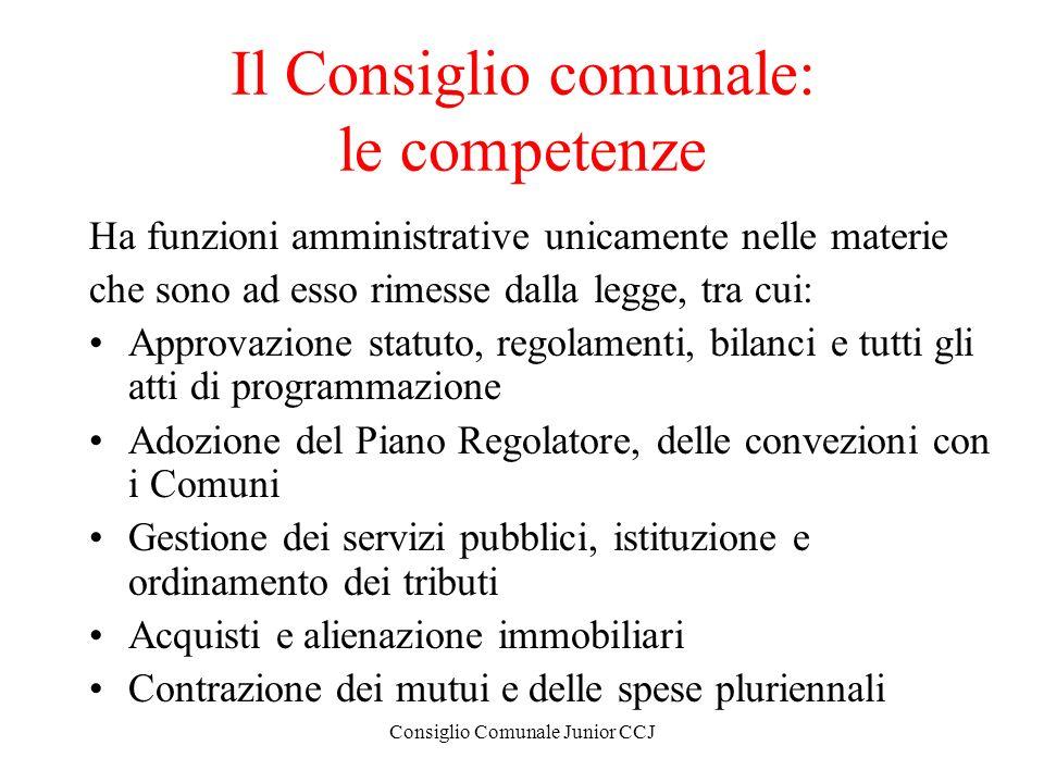 Il Consiglio comunale: le competenze