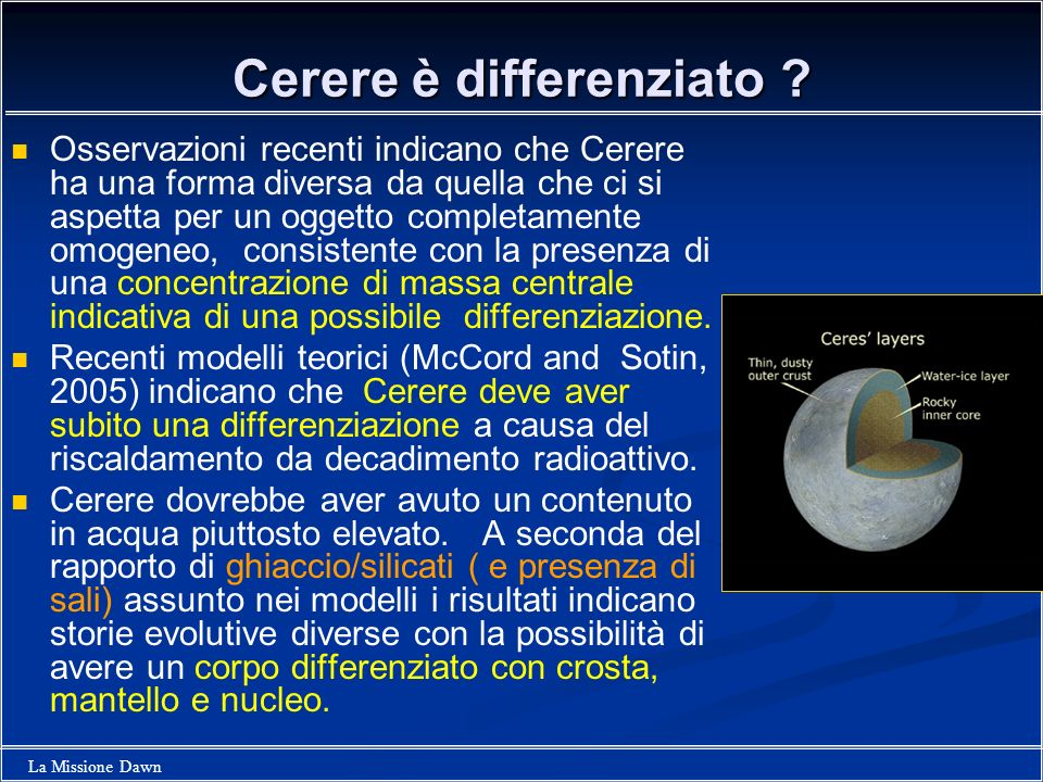 Cerere è differenziato