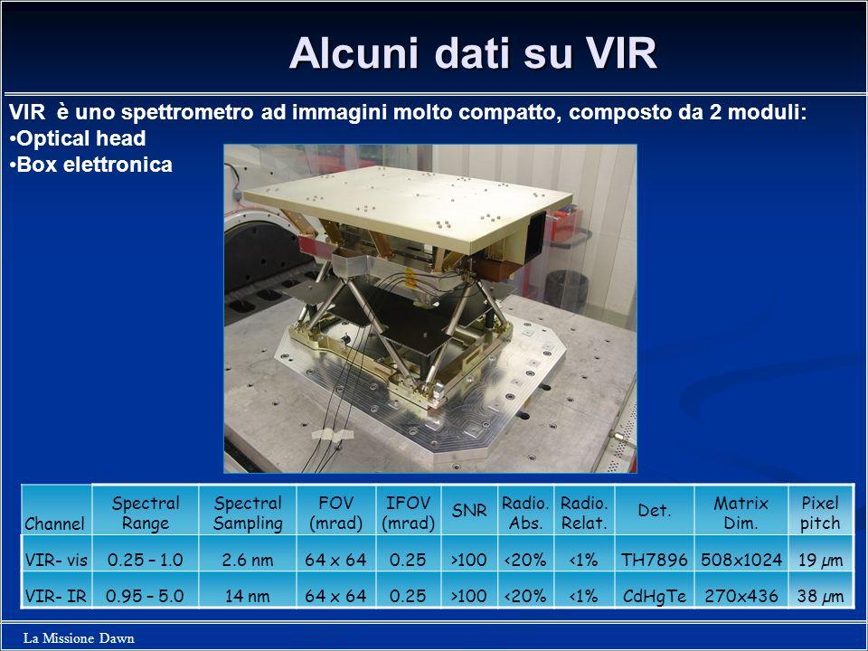 Alcuni dati su VIR VIR è uno spettrometro ad immagini molto compatto, composto da 2 moduli: Optical head.