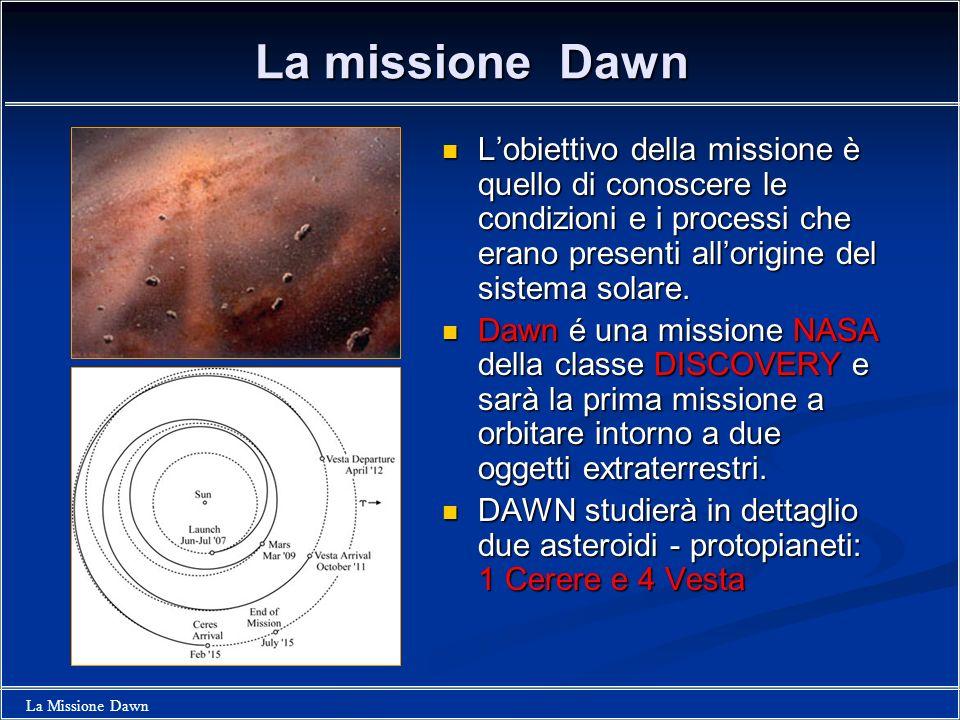 La missione Dawn L'obiettivo della missione è quello di conoscere le condizioni e i processi che erano presenti all'origine del sistema solare.