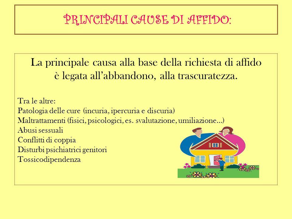 PRINCIPALI CAUSE DI AFFIDO: