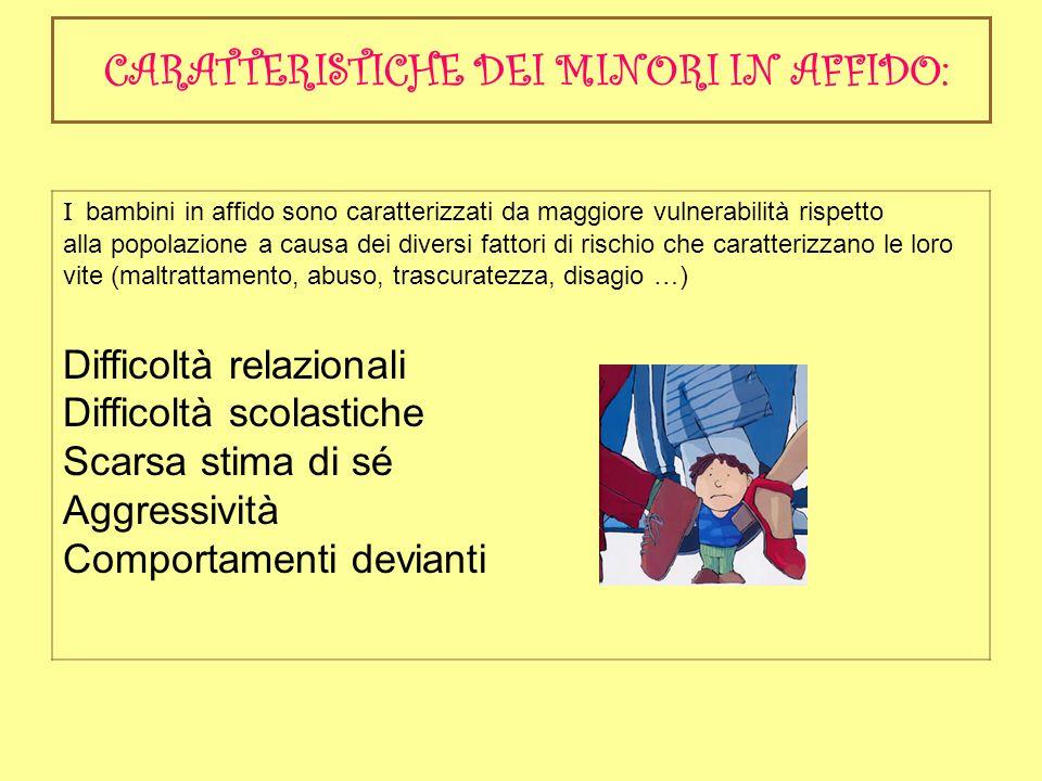 CARATTERISTICHE DEI MINORI IN AFFIDO: