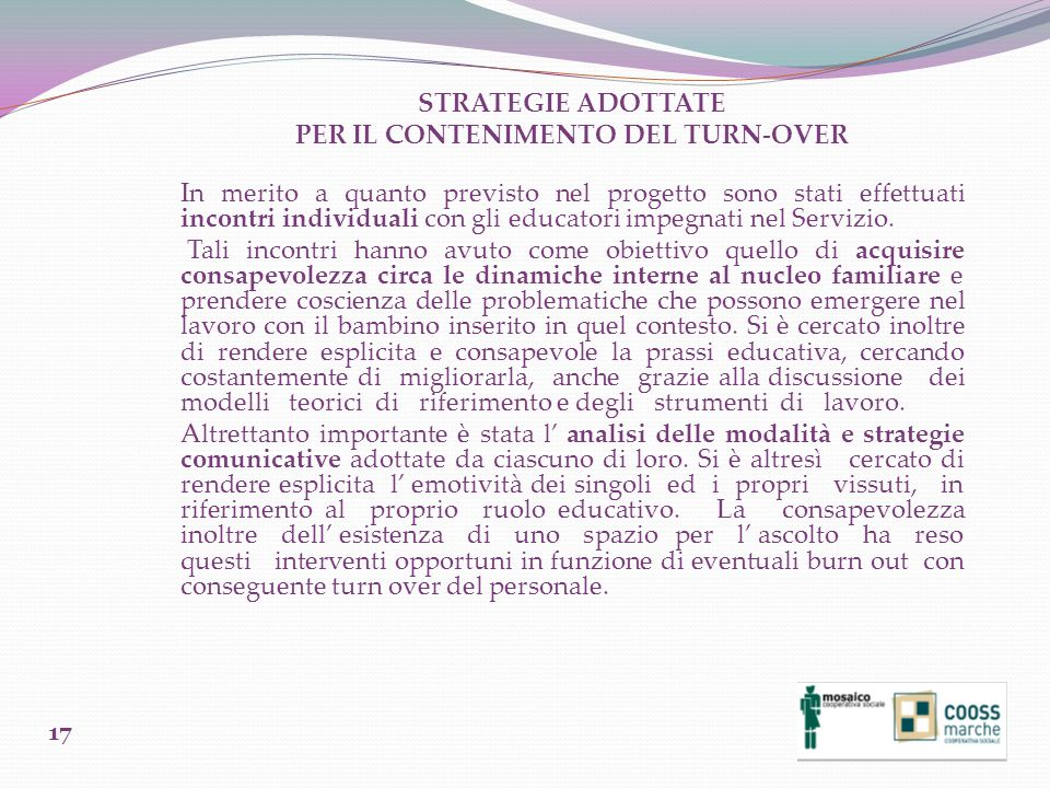 PER IL CONTENIMENTO DEL TURN-OVER