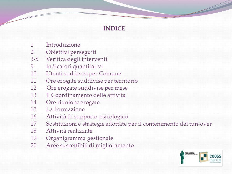 INDICE 1 Introduzione. 2 Obiettivi perseguiti. 3-8 Verifica degli interventi. 9 Indicatori quantitativi.