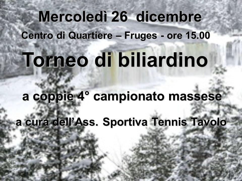 Torneo di biliardino Mercoledì 26 dicembre
