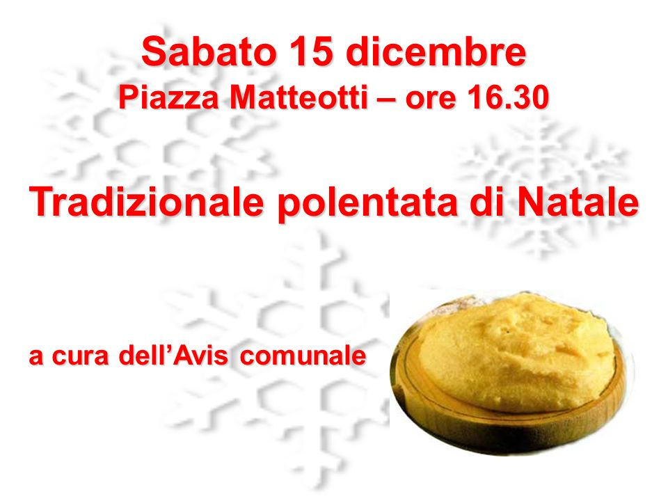 Tradizionale polentata di Natale a cura dell'Avis comunale