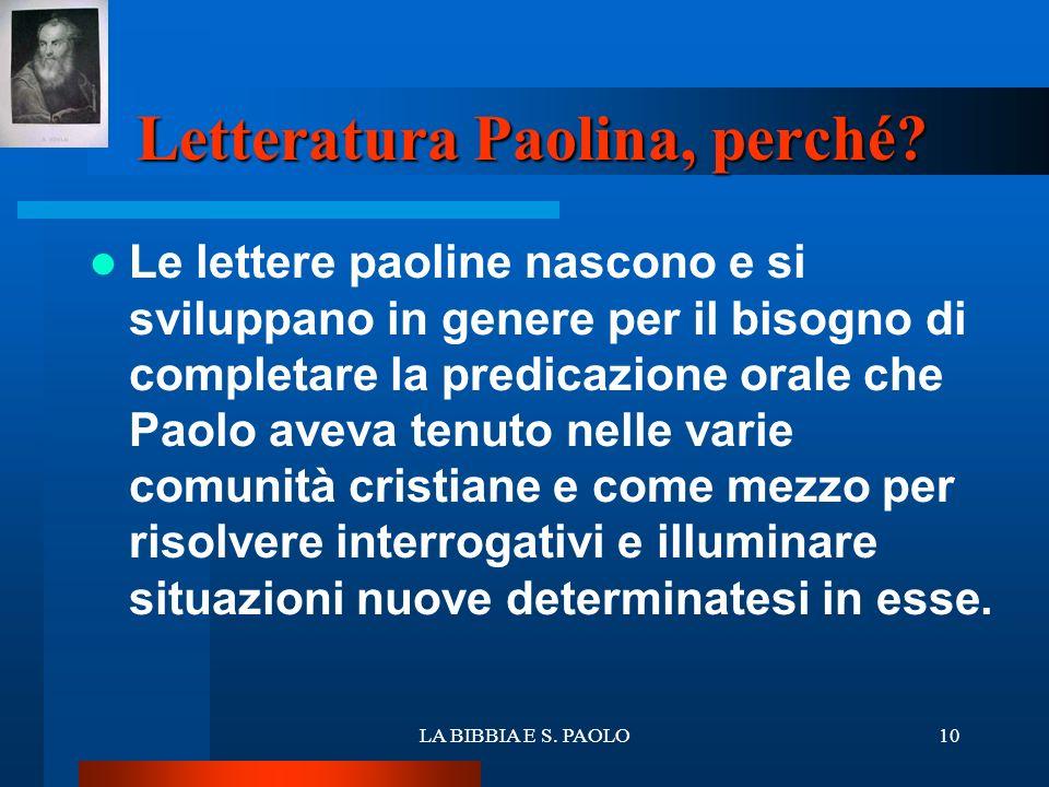 Letteratura Paolina, perché