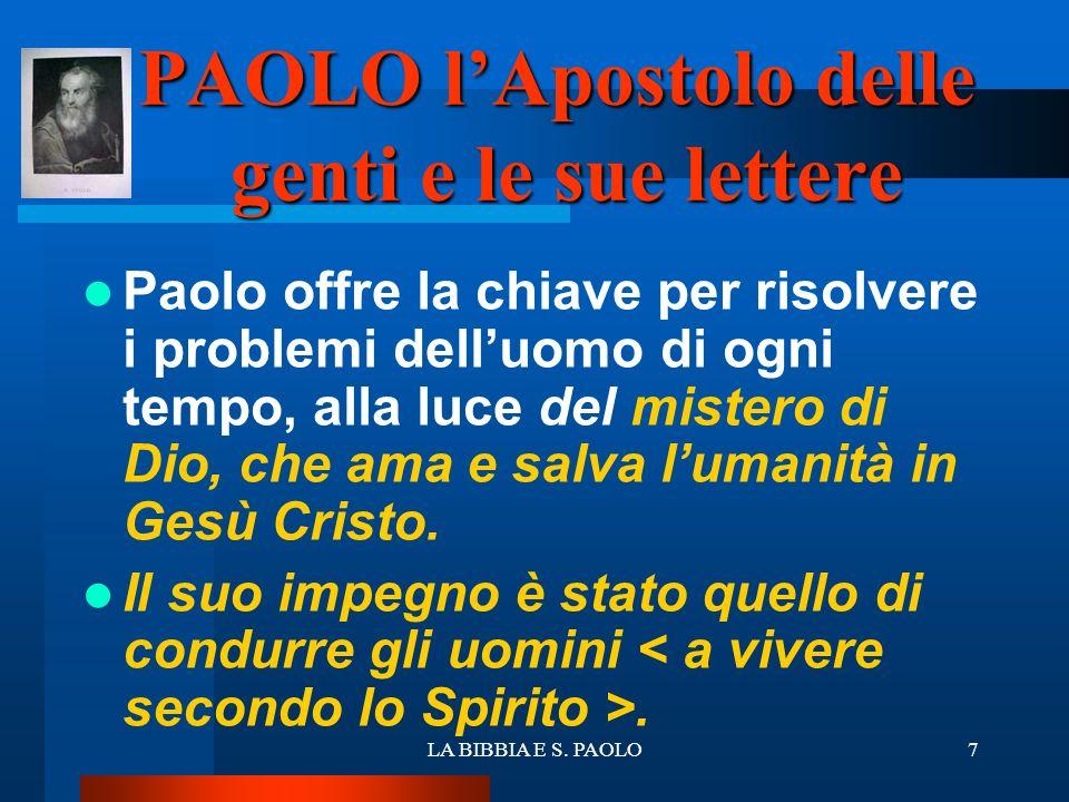 PAOLO l'Apostolo delle genti e le sue lettere