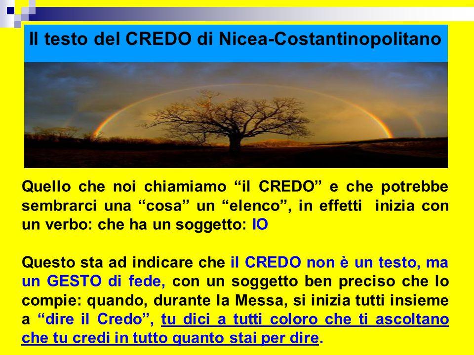 Il testo del CREDO di Nicea-Costantinopolitano