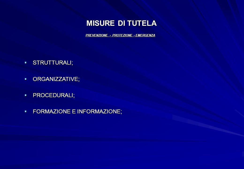 MISURE DI TUTELA PREVENZIONE - PROTEZIONE - EMERGENZA