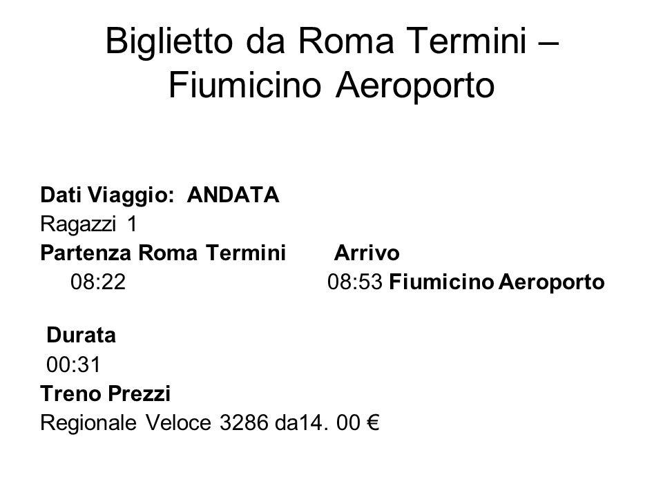 Biglietto da Roma Termini –Fiumicino Aeroporto