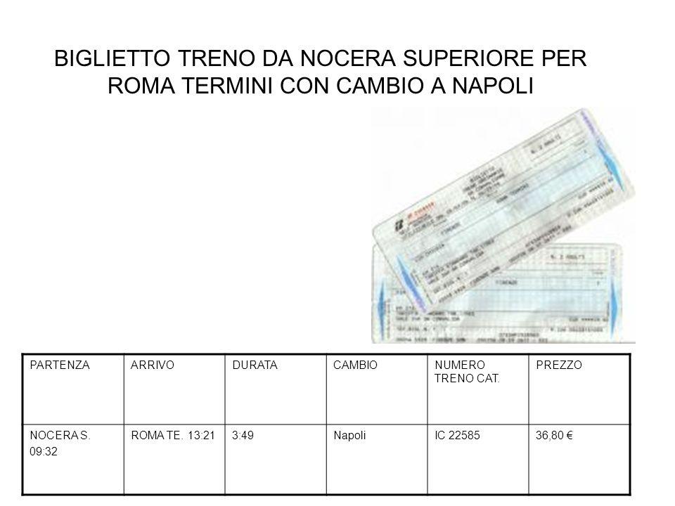 BIGLIETTO TRENO DA NOCERA SUPERIORE PER ROMA TERMINI CON CAMBIO A NAPOLI