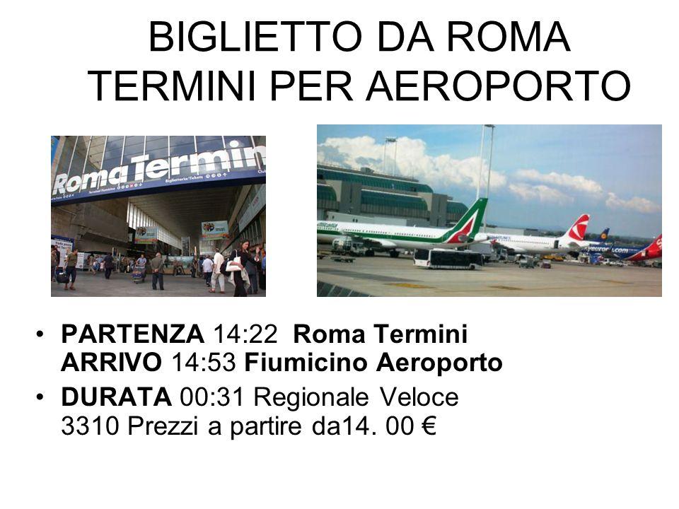 BIGLIETTO DA ROMA TERMINI PER AEROPORTO