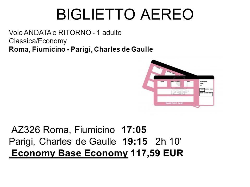 BIGLIETTO AEREO AZ326 Roma, Fiumicino 17:05