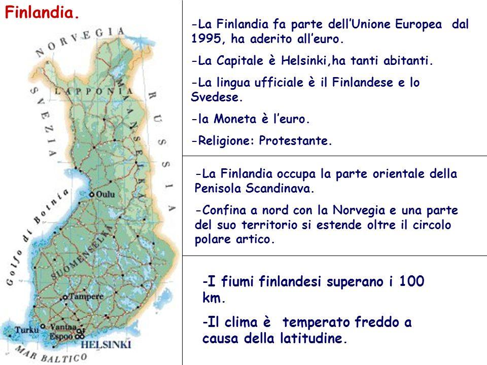 Finlandia. I fiumi finlandesi superano i 100 km.
