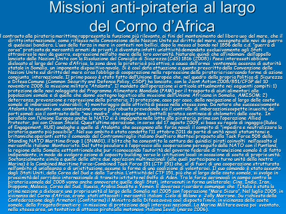 Missioni anti-pirateria al largo del Corno d'Africa