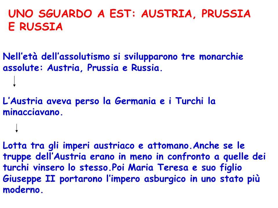 UNO SGUARDO A EST: AUSTRIA, PRUSSIA E RUSSIA