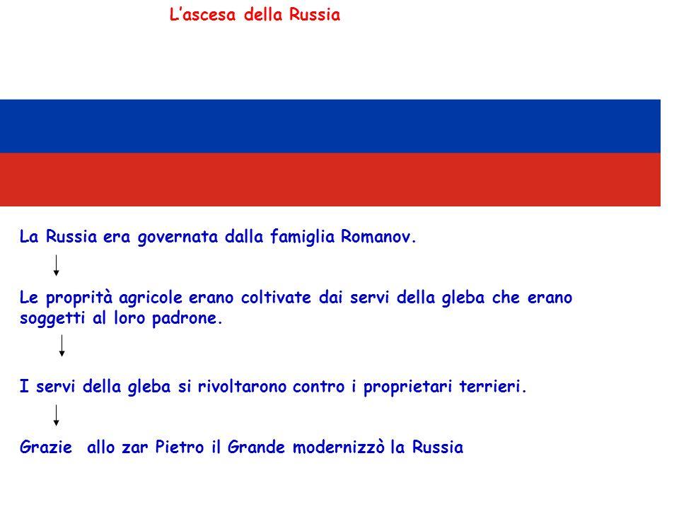L'ascesa della Russia La Russia era governata dalla famiglia Romanov.