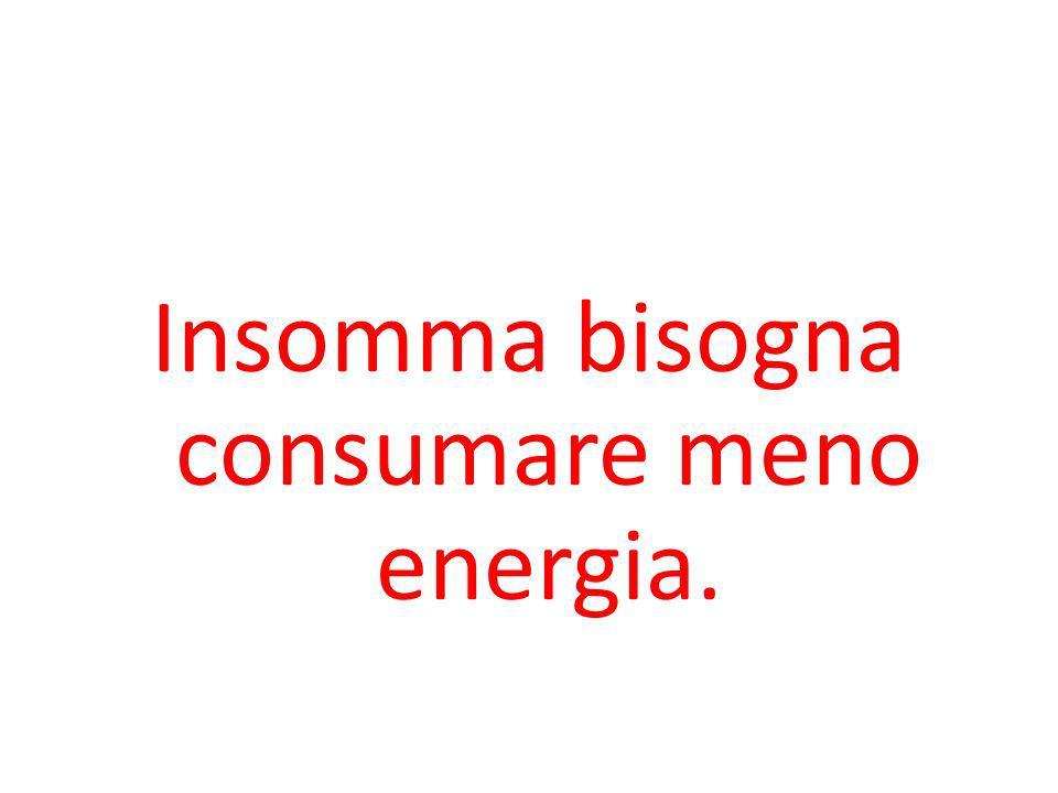 Insomma bisogna consumare meno energia.
