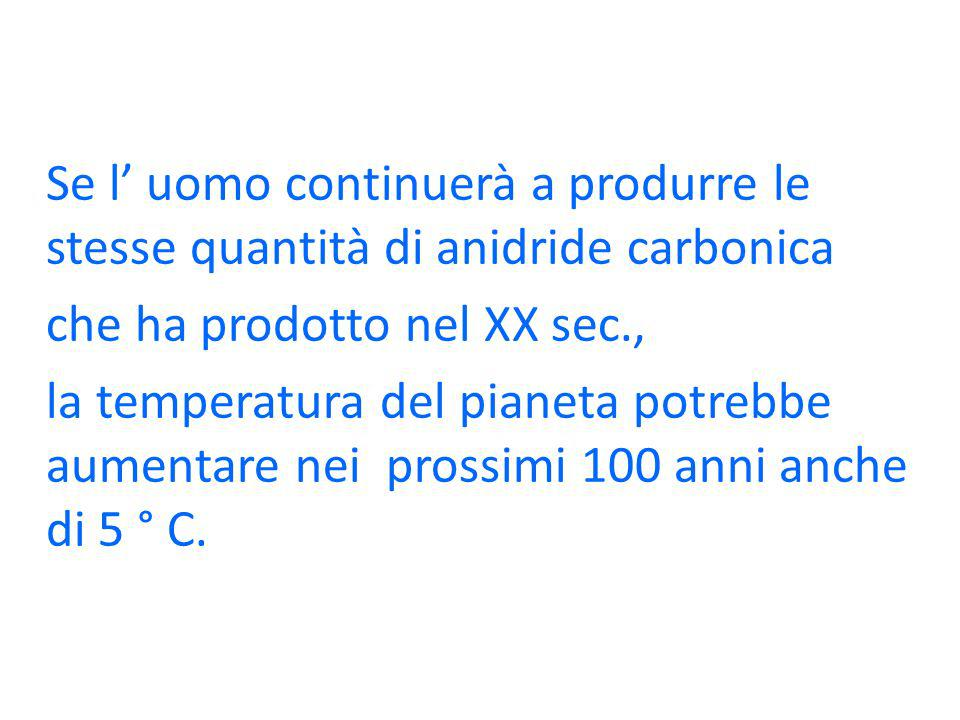 Se l' uomo continuerà a produrre le stesse quantità di anidride carbonica