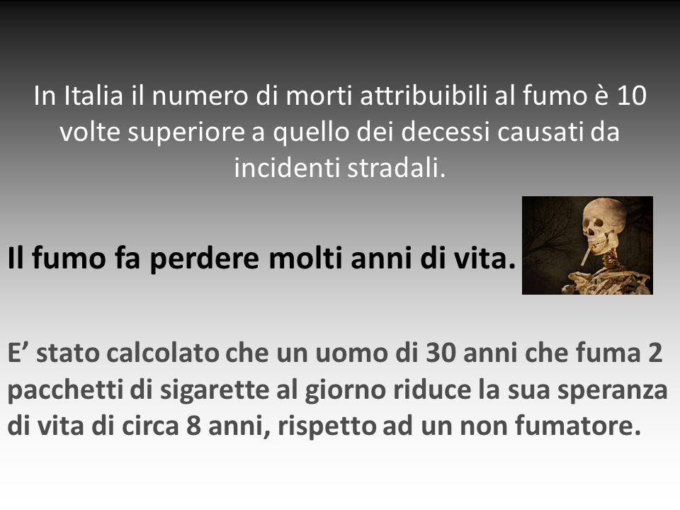 Il fumo fa perdere molti anni di vita.