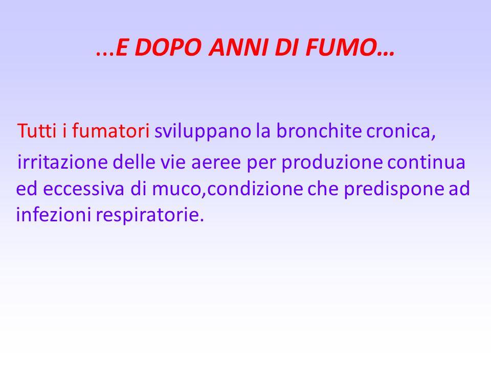…E DOPO ANNI DI FUMO… Tutti i fumatori sviluppano la bronchite cronica,