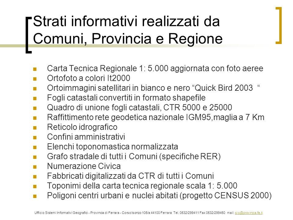 Strati informativi realizzati da Comuni, Provincia e Regione
