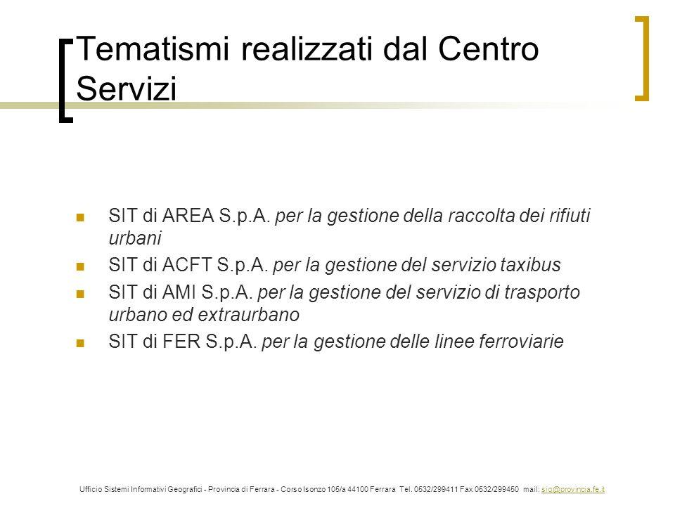 Tematismi realizzati dal Centro Servizi