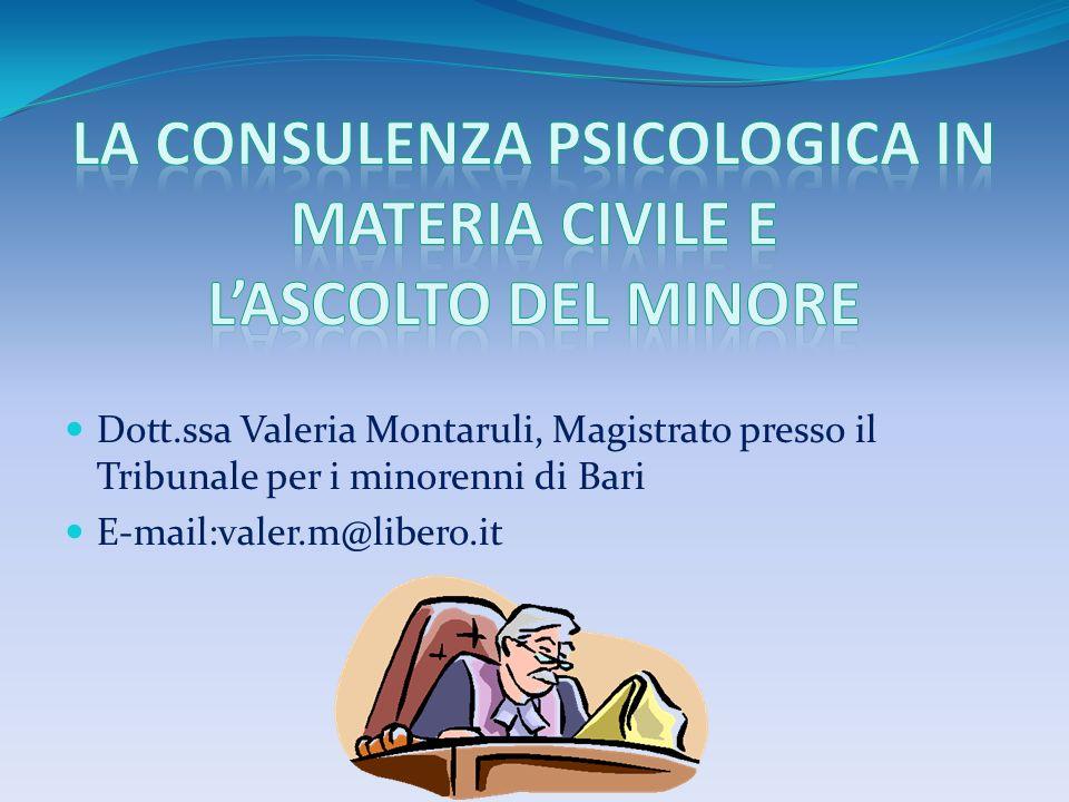 La consulenza psicologica in materia civile e l'ascolto del minore