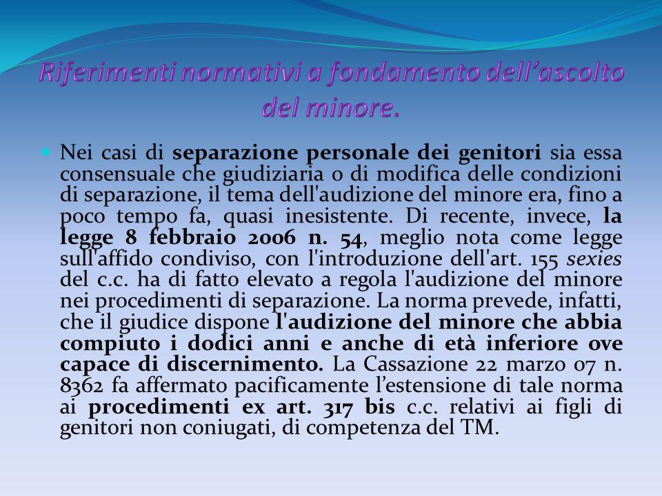 Riferimenti normativi a fondamento dell'ascolto del minore.