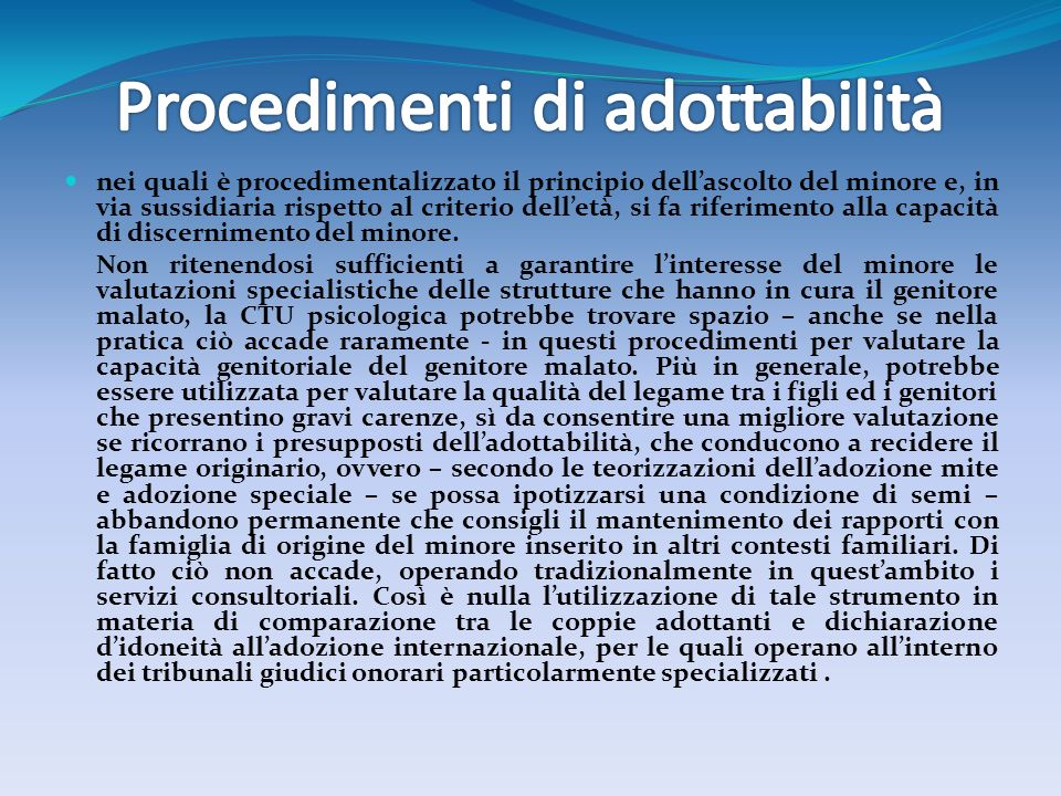 Procedimenti di adottabilità