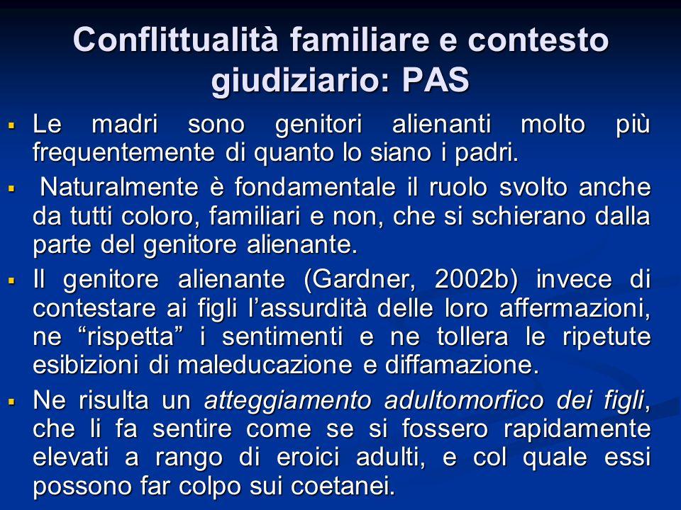 Conflittualità familiare e contesto giudiziario: PAS
