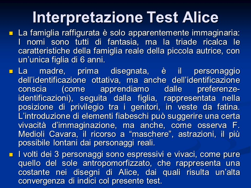 Interpretazione Test Alice