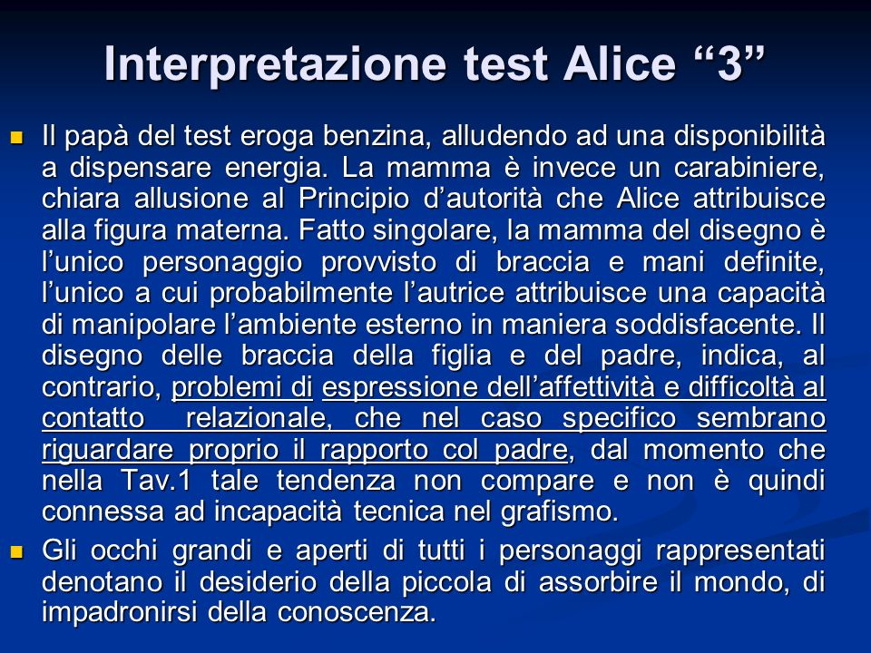 Interpretazione test Alice 3