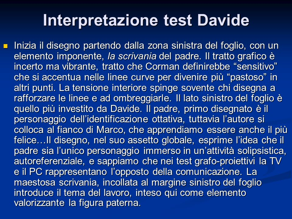 Interpretazione test Davide