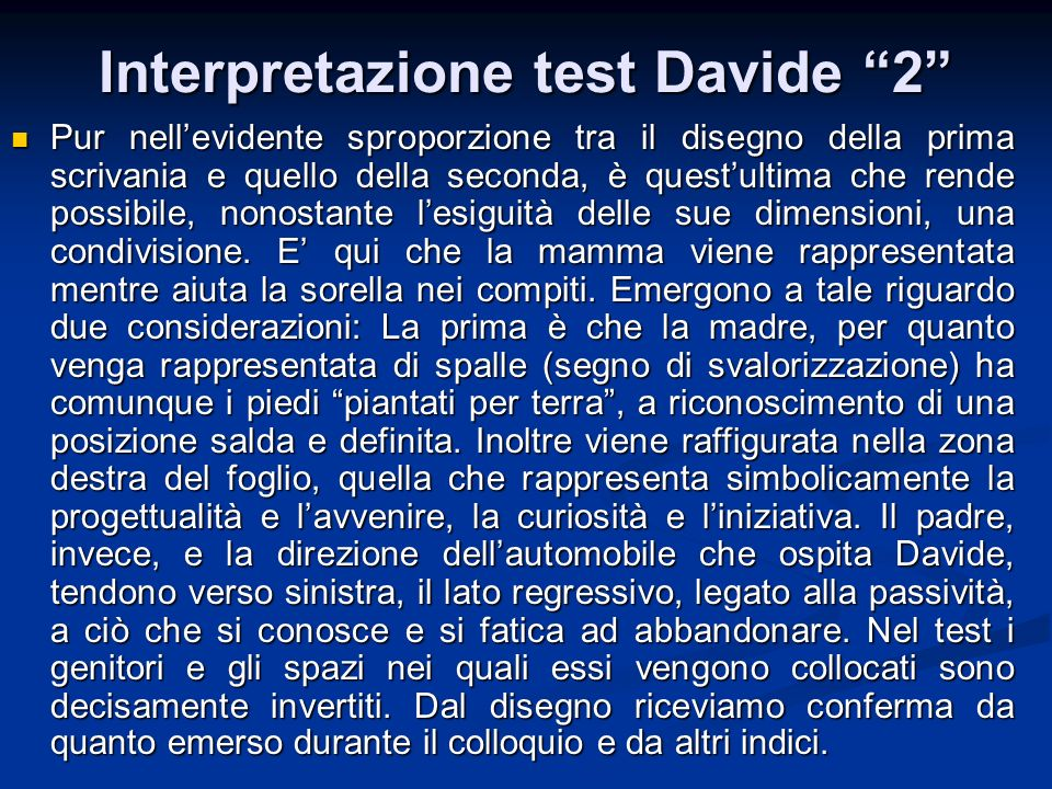 Interpretazione test Davide 2
