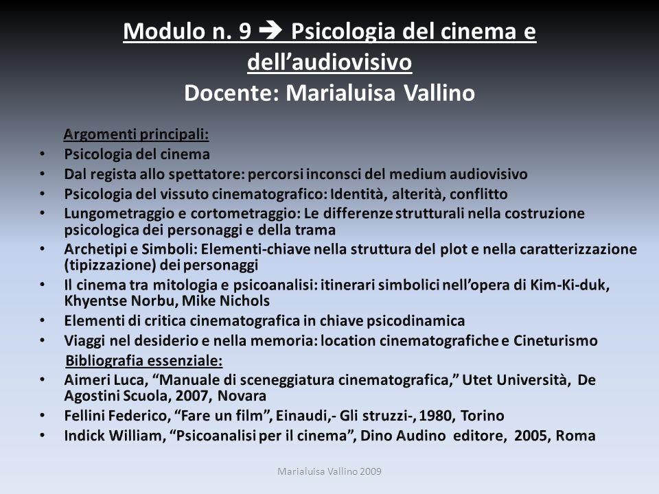 Modulo n. 9  Psicologia del cinema e dell'audiovisivo Docente: Marialuisa Vallino