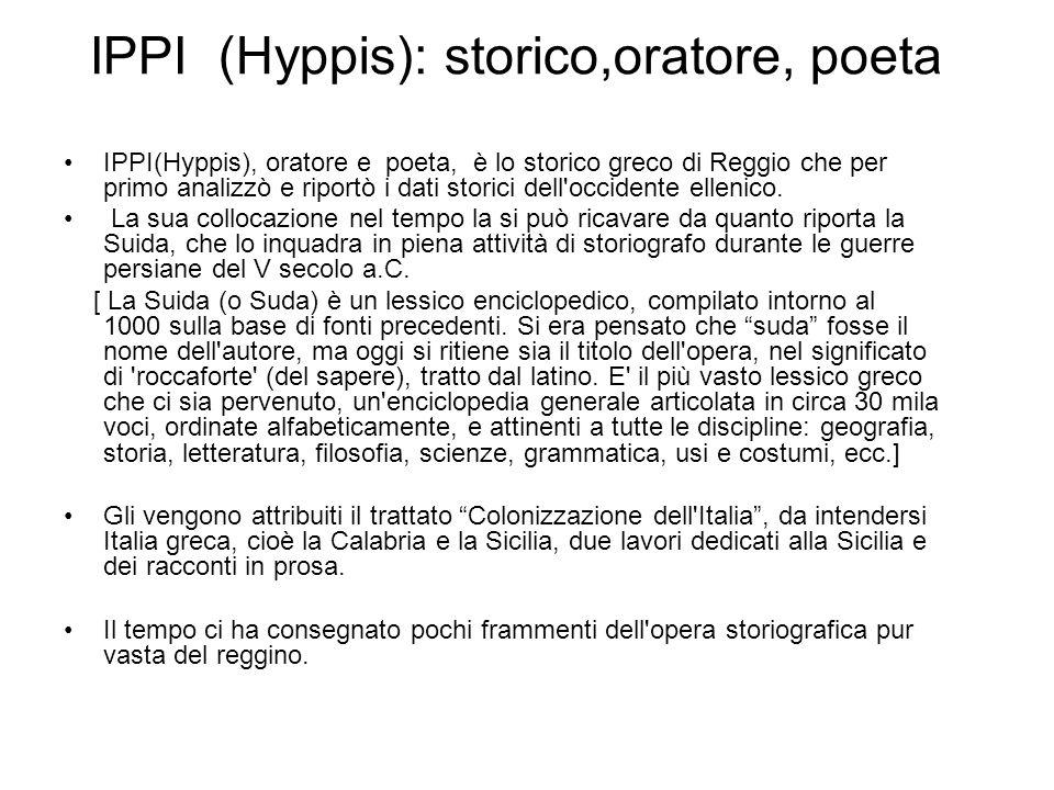 IPPI (Hyppis): storico,oratore, poeta