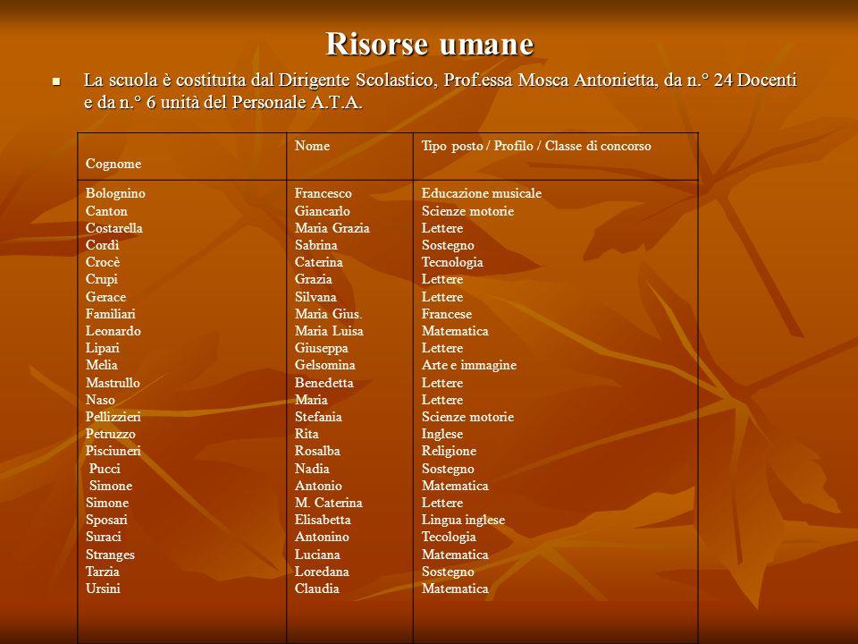 Risorse umane La scuola è costituita dal Dirigente Scolastico, Prof.essa Mosca Antonietta, da n.° 24 Docenti e da n.° 6 unità del Personale A.T.A.
