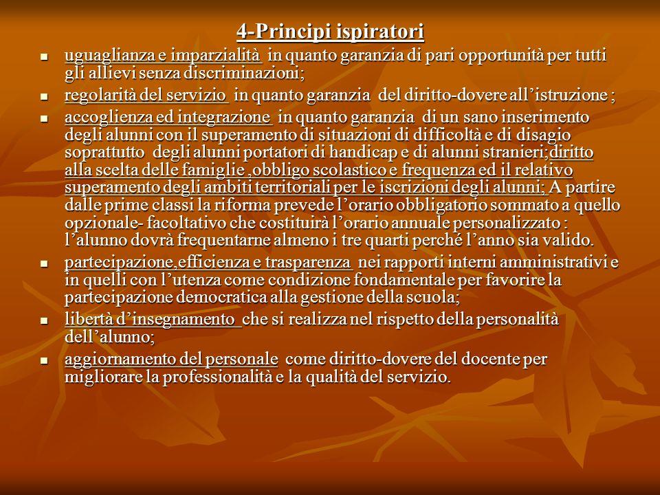 4-Principi ispiratori uguaglianza e imparzialità in quanto garanzia di pari opportunità per tutti gli allievi senza discriminazioni;
