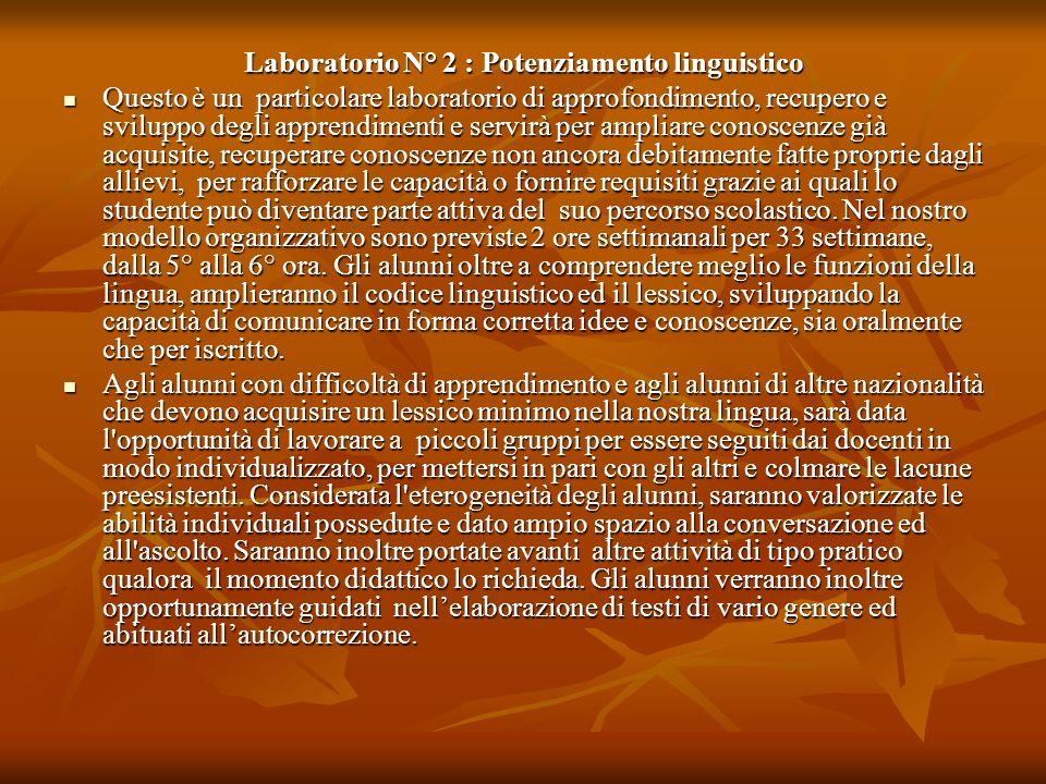 Laboratorio N° 2 : Potenziamento linguistico