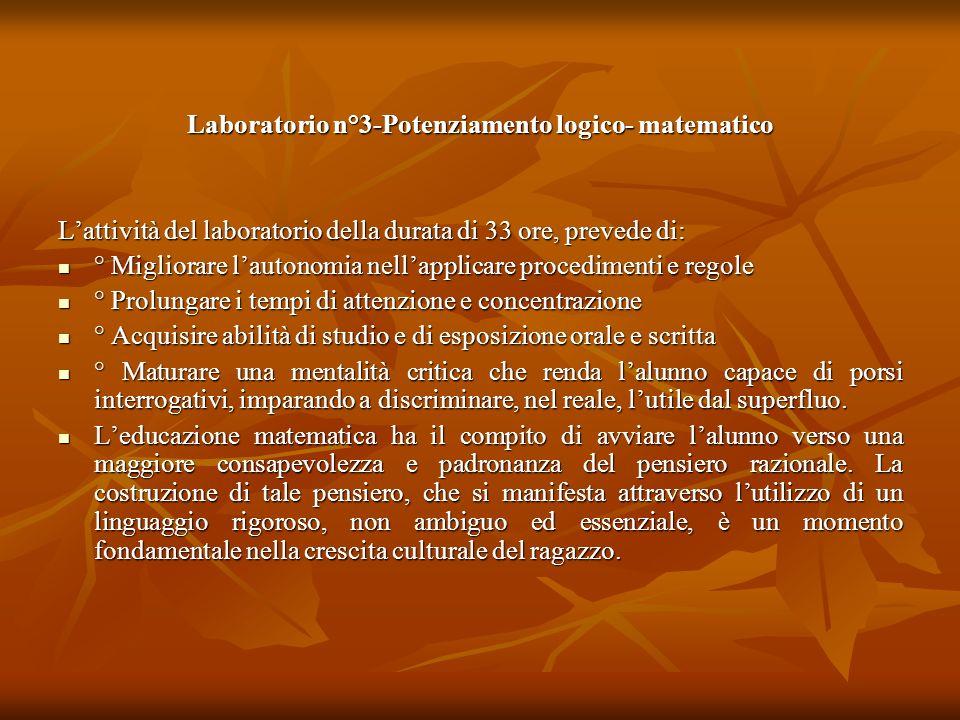 Laboratorio n°3-Potenziamento logico- matematico